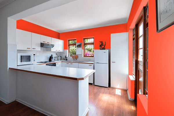 Pretty Photo frame on Scarlet Flame color kitchen interior wall color