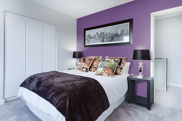 Pretty Photo frame on Purple Heart color Bedroom interior wall color