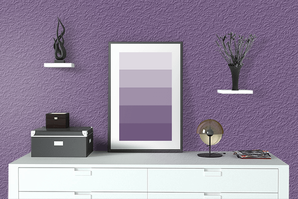Pretty Photo frame on Purple Heart color drawing room interior textured wall