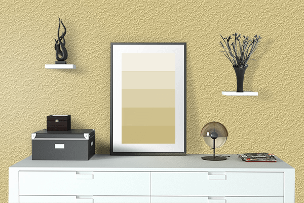 Pretty Photo frame on Natural Yellow color drawing room interior textured wall