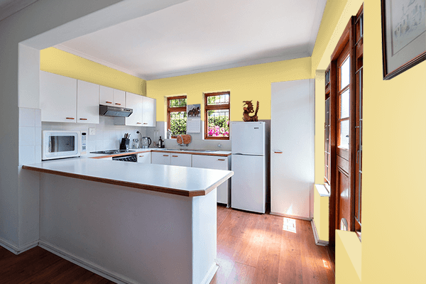 Pretty Photo frame on Natural Yellow color kitchen interior wall color