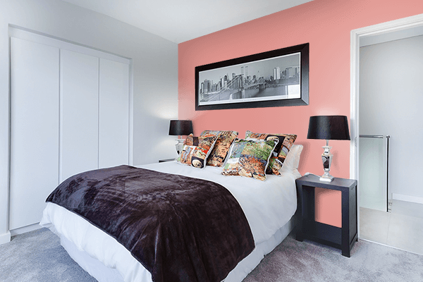 Pretty Photo frame on Salmon Pink Red color Bedroom interior wall color