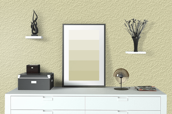 Pretty Photo frame on Potato color drawing room interior textured wall