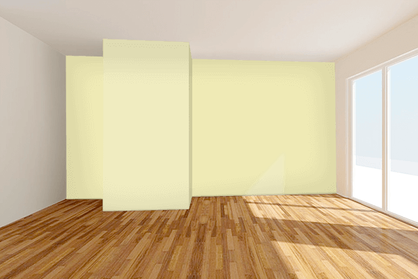 Pretty Photo frame on Potato color Living room wal color