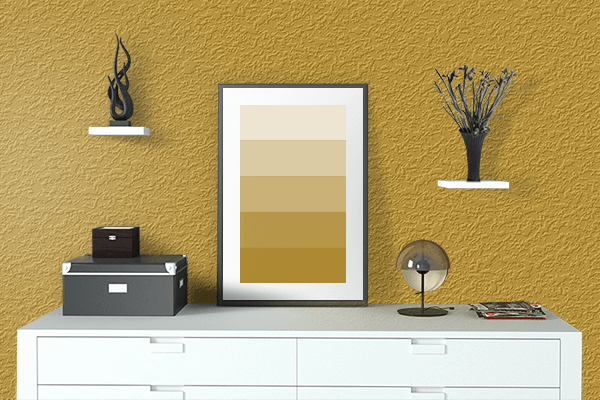 Pretty Photo frame on Nugget Gold color drawing room interior textured wall