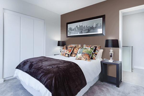 Pretty Photo frame on Mocha Black color Bedroom interior wall color
