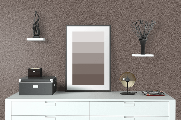 Pretty Photo frame on Mocha Black color drawing room interior textured wall