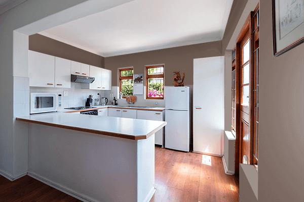 Pretty Photo frame on Mocha Black color kitchen interior wall color