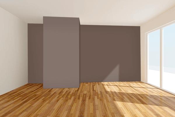 Pretty Photo frame on Mocha Black color Living room wal color
