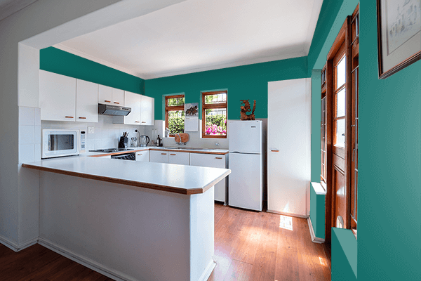 Pretty Photo frame on Butterfly Green color kitchen interior wall color