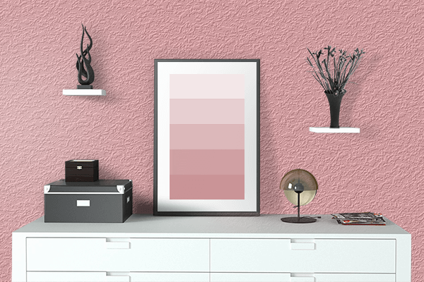 Pretty Photo frame on Quartz Pink color drawing room interior textured wall