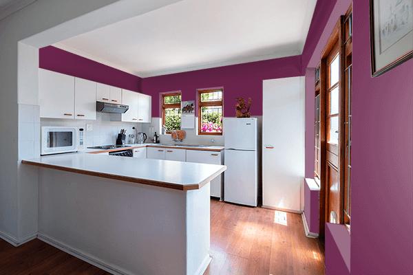Pretty Photo frame on Magenta Purple color kitchen interior wall color