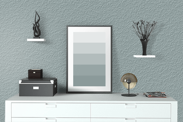 Pretty Photo frame on Gray Mist color drawing room interior textured wall