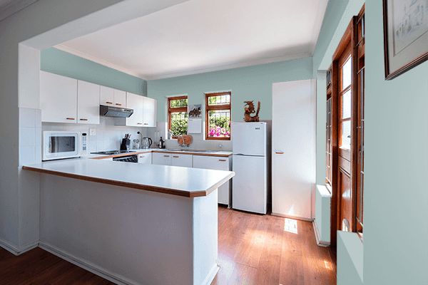 Pretty Photo frame on Gray Mist color kitchen interior wall color