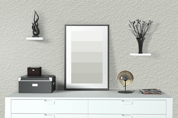 Pretty Photo frame on Lily Of The Valley White color drawing room interior textured wall