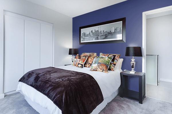 Pretty Photo frame on Lviv Blue color Bedroom interior wall color