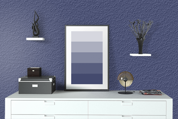 Pretty Photo frame on Lviv Blue color drawing room interior textured wall