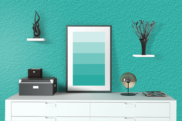 Pretty Photo frame on Mermaid color drawing room interior textured wall