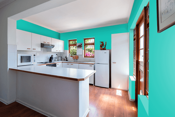 Pretty Photo frame on Mermaid color kitchen interior wall color