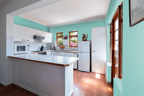 Pretty Photo frame on Muted Turquoise color kitchen interior wall color