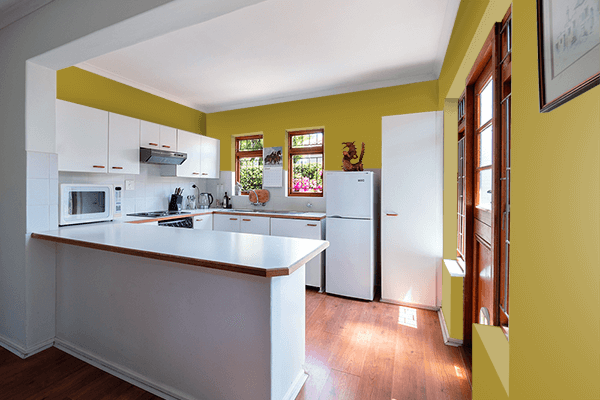 Pretty Photo frame on Faint Green color kitchen interior wall color