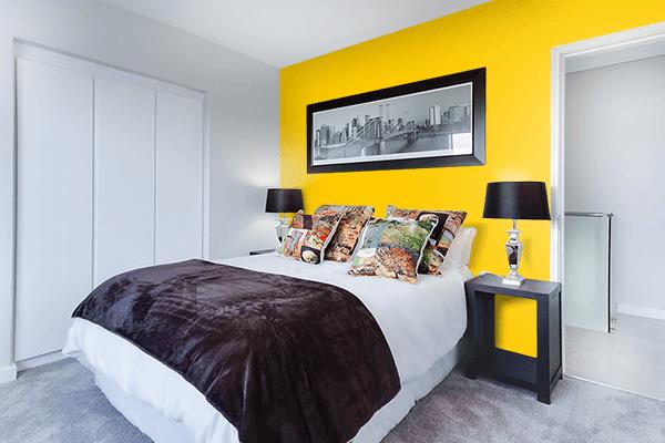 Pretty Photo frame on Dark Yellow color Bedroom interior wall color