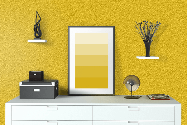 Pretty Photo frame on Dark Yellow color drawing room interior textured wall