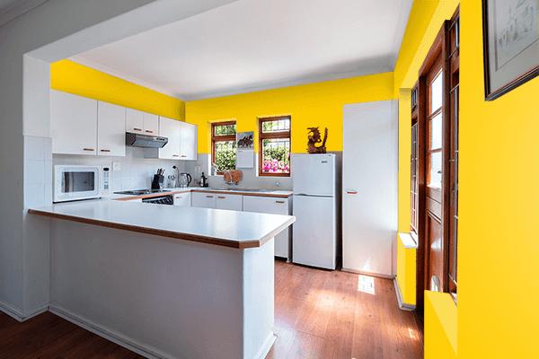 Pretty Photo frame on Dark Yellow color kitchen interior wall color