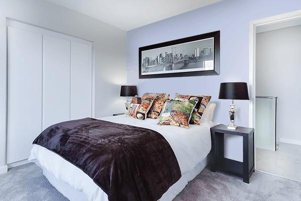 Pretty Photo frame on Violet Scent Soft Blue color Bedroom interior wall color