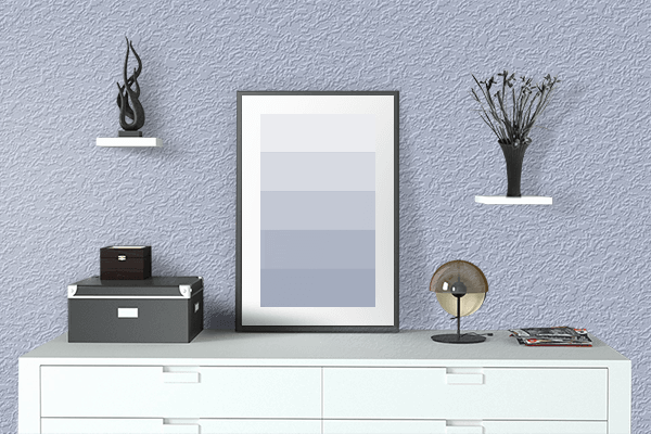 Pretty Photo frame on Violet Scent Soft Blue color drawing room interior textured wall