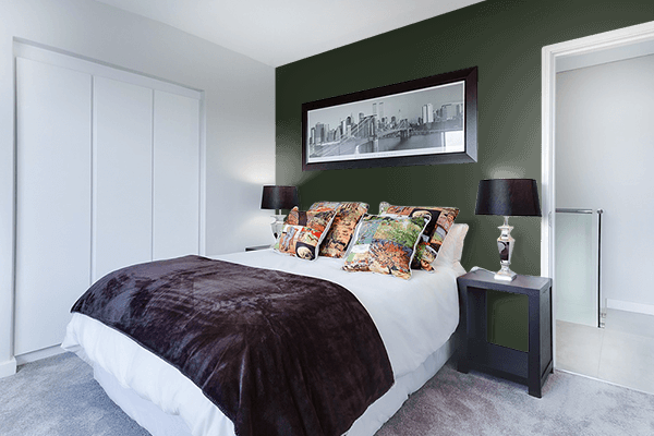 Pretty Photo frame on Mountain Range Green color Bedroom interior wall color