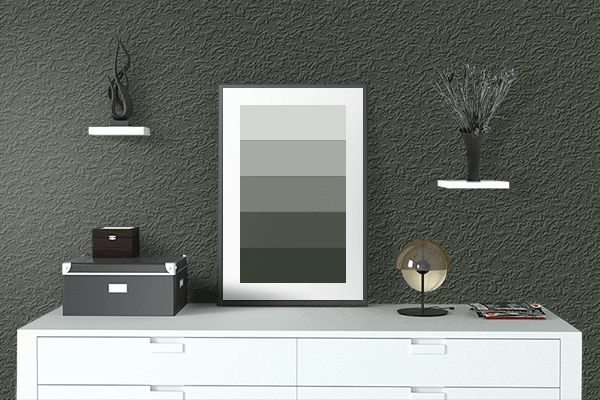 Pretty Photo frame on Mountain Range Green color drawing room interior textured wall