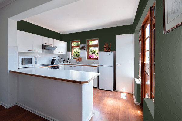 Pretty Photo frame on Mountain Range Green color kitchen interior wall color