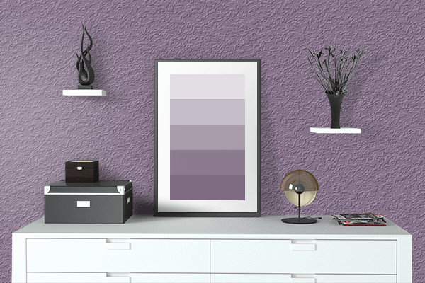 Pretty Photo frame on Cyclamen color drawing room interior textured wall