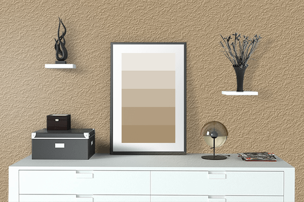Pretty Photo frame on Light Stone color drawing room interior textured wall