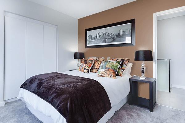 Pretty Photo frame on Mushroom Brown color Bedroom interior wall color