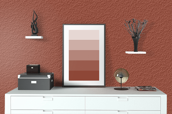 Pretty Photo frame on Henna Red color drawing room interior textured wall