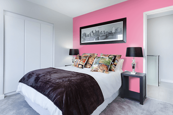 Pretty Photo frame on Aurora Pink color Bedroom interior wall color