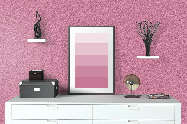 Pretty Photo frame on Aurora Pink color drawing room interior textured wall
