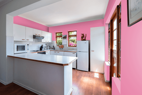 Pretty Photo frame on Aurora Pink color kitchen interior wall color