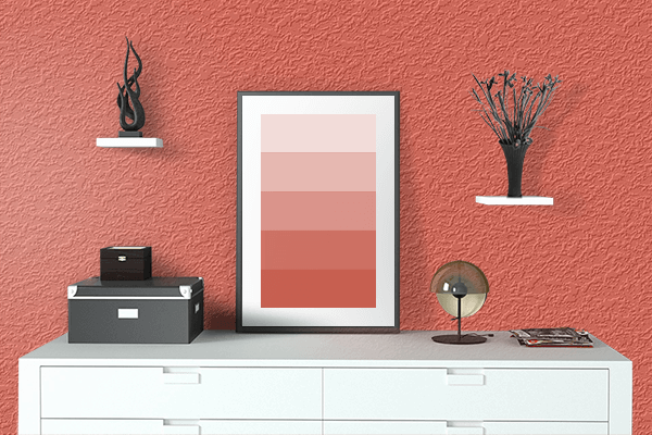 Pretty Photo frame on Classic Coral color drawing room interior textured wall