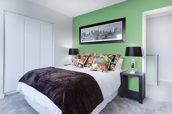 Pretty Photo frame on Comfort Green color Bedroom interior wall color
