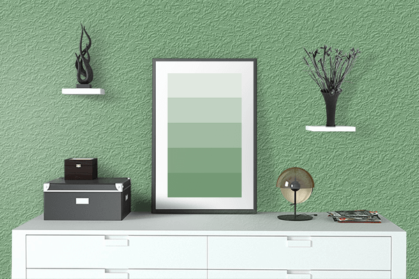 Pretty Photo frame on Comfort Green color drawing room interior textured wall