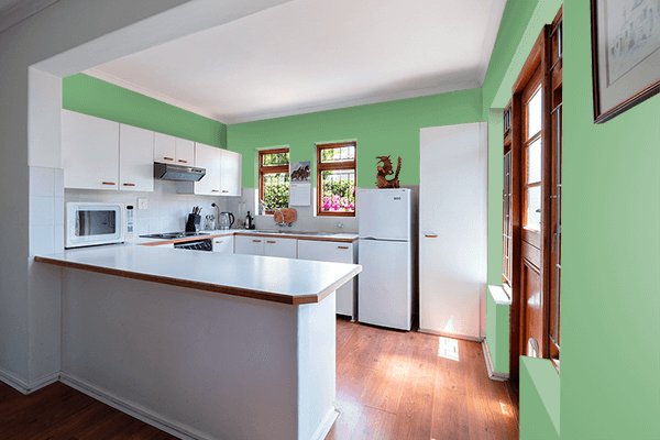 Pretty Photo frame on Comfort Green color kitchen interior wall color