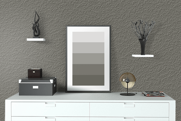 Pretty Photo frame on Smokey Olive color drawing room interior textured wall