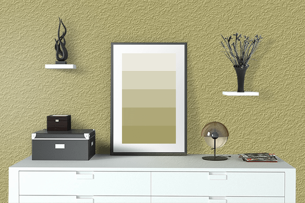 Pretty Photo frame on Golden Green color drawing room interior textured wall