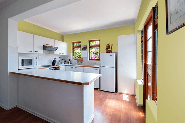 Pretty Photo frame on Golden Green color kitchen interior wall color