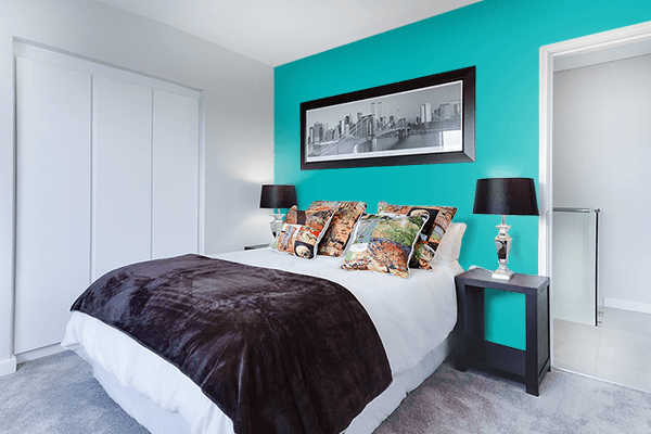 Pretty Photo frame on Shiny Teal color Bedroom interior wall color