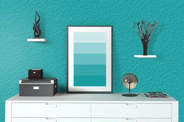 Pretty Photo frame on Shiny Teal color drawing room interior textured wall