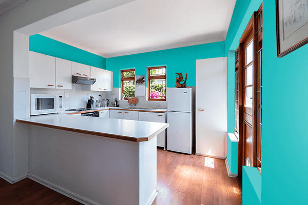 Pretty Photo frame on Shiny Teal color kitchen interior wall color